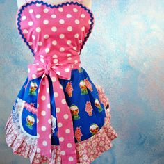 Daisy Mae Candy Counter Waitress Apron with Vintage 60s Fabric