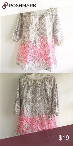 Merona Blouse I love this blouse! Light weight. New without tag 3/4 sleeve. Wear a camisole underneath. Dress it up or down. V neck front. The colors alone make the pattern all that more chic! Merona Tops Blouses