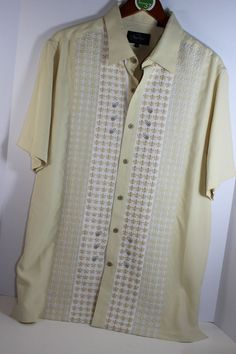 Nat Nast Nile Silk Shirt Yellow Embroidered Medium Silk Short Sleeve NWT #NatNast #ButtonFront