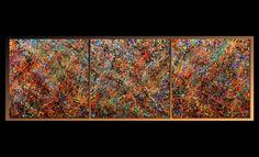 TEHOS (©2013 artmajeur.com/tehos) Tableau de Tehos abstraction V01 - acrylique sur toile 3m*1m ( trois fois 100*100 cm)