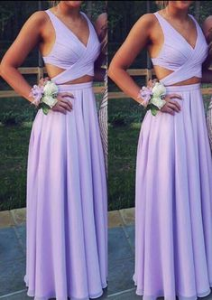 Pretty Lavender Chiffon Two Piece Prom Dresses 2018, Long Prom Dresses – BeMyBridesmaid