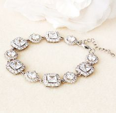 Wedding Jewelry Bridal Bracelet Square Princess Round cz Bracelet by DreamIslandJewellery