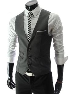 TheLees Mens slim fit chain point 3 button vest - love the pocket square accessory