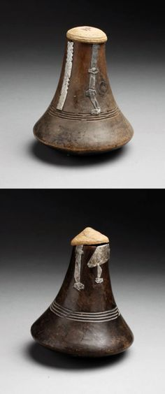 Africa | Milk containers from the Tutsi people of the Kigali region of Rwanda | Old hard wood with dark brown patina, basketry lid and old 'in situ' aluminium repairs