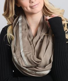 Take a look at this Mocha Metallic-Trim Infinity Scarf today!