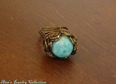 Chinese Turquoise and Vintage Brass Wire Wrapped by Ann's Jewelry Collection, $18.00
