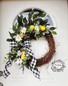 Lemon Wreath, Outdoor Wreaths, Hydrangea Wreath, Patriotic Wreath, Summer Wreath, Wreaths For Front Door, Deco, Grapevine Wreath, Grape Vines