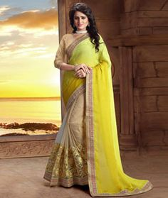Buy Yellow Faux Crepe Half and Half Saree With Blouse 75319 with blouse online…