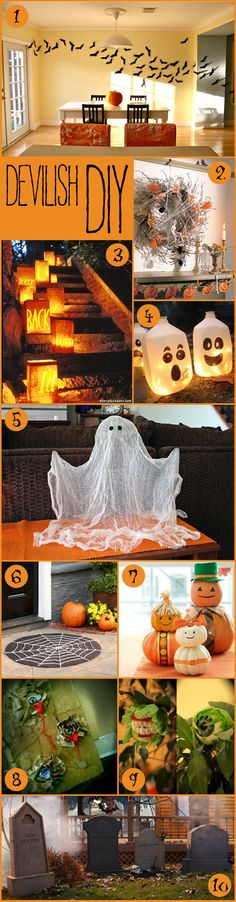 DIY, Halloween, wreath, pumpkin family, tombstones, message lanterns, bats, spell book, floating ghost, cobweb door mat