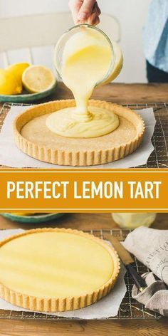 A traditional French-style lemon tart with creamy, dreamy lemon curd filling. This traditional French lemon tart recipe has been a favorite in my family for years! It's made of a classic sweet tart crust and a creamy, dreamy lemon curd filling. Lemon Desserts, Lemon Recipes, Tart Recipes, Just Desserts, Baking Recipes, Sweet Recipes, Yummy Recipes, Delicious Desserts, Drink Recipes