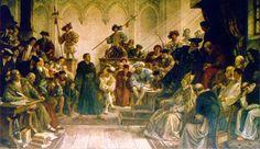 Luther vor Karl V. auf dem Reichstag zu Worms 1521. Wandgemälde (um 1880) von Hermann Wislicenus (1825-1899)