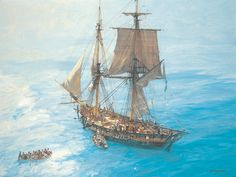 'Speedy' 14-gun brig. Famous for her action against the vastly superior Gamo under Lord Cochrane's command, Speedy had an extremely active career in the Mediterranean. Much of this involved shore raids and boat work, as suggested in this scene. Patrick O'Brian based much of the story of Jack Aubrey's beloved Sophie on the exploits of Speedy.
