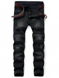 Slim Fit Zip Fly Ripped Biker Jeans