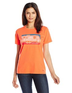 Life is good Women's Crusher Airstream Crayon Tee, Coral Orange,X-Small. Slight waist shape. Rib at the neck and Self-fabric taping from shoulder to shoulder. The Life is good company donates 10% of all sales to kids in need.