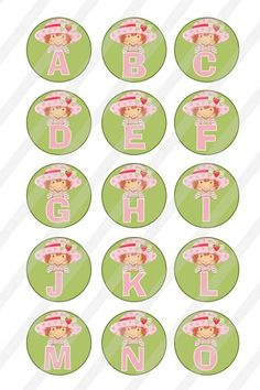 These Alphabet designs are presented in a inch circle for bottlecap x sheet to print and create your own pins bottle caps cupcake toppers magnets stickers necklaces key chains and Scrabble Tiles, Strawberry Shortcake, Digital Collage, Circles, Alphabet, Decorative Plates, Scrapbook, Alpha Bet, Scrapbooking