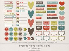 Valentines! Everyday love! Beautiful digital word strips & flat elements. For digital & pocket scrapbookers. Includes printable pdf files. By SuzyQ Scraps. Great for pocket scrapbooking & project life. Coordinating pocket cards & digital kit also available.