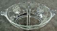 Vintage Heisey Orchid Etch on Waverly - Divided Bowl  $55