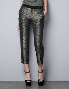 ZARA Gold silver black Metallic Jacquard Crop ankle trousers Pants sz Small NWT
