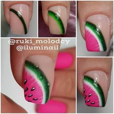 Nail Art Designs In Every Color And Style – Your Beautiful Nails Watermelon Nail Art, Fruit Nail Art, Watermelon Nail Designs, Fruit Nail Designs, Diy Nail Designs, Diy Nails, Manicure, Nail Art Vernis, Nail Art Designs Videos
