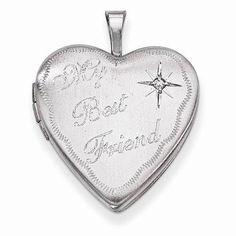 NEW-925-STERLING-SILVER-HEART-LOCKET-BEST-FRIEND-PENDANT-01-CT-DIAMOND-1-00