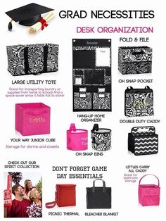 Have a child graduating and headed off to college in the fall? Here are some items to keep your new college student organized when school starts!  www.mythirtyone.com/kimmoulton  www.facebook.com/Kim's Trendy Totes