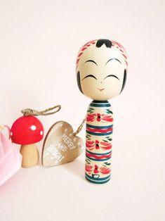 Blue stripes Togatta kokeshi doll