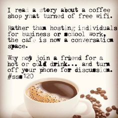 Wanna join me for coffee without wifi... #sss120