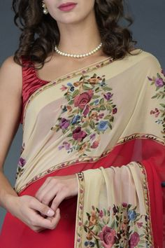Pre-Order Red-Fawn Floral Parsi Gara Saree Pure Georgette Sarees, Heritage Crafts, Origami Fish, Indian Heritage, Product Offering, Occasion Wear, Custom Fabric, Fabric Crafts, Classic Style