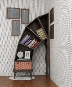 This wacky wooden book shelf with a vintage feel is sure to get your guests talking.