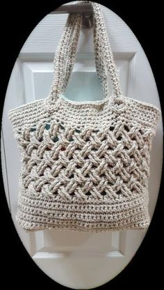 "**THIS LISTING IS FOR THE PATTERN ONLY, NOT A FINISHED ITEM**  This unique tote bag is crocheted flat and seamed together.  Finish dimensions: W 13 x H 10 x D 5  • 6.0mm Crochet Hook • 450yd/412m bulky weight yarn (We used Lion's Pride Woolspun in ""Linen"") • Yarn Needle   Please note refunds are not permitted for digital downloads. Upon completion of your purchase you will receive immediate notification to download your pattern. If you have any problems with the process, please contact u..."