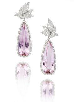 A pair of kunzite and diamond pendent earrings, by Margherita Burgener
