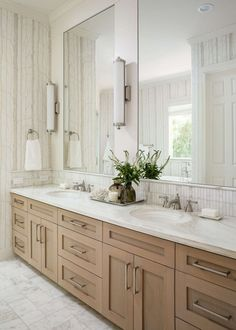 BEFORE AND AFTER BATHROOM REMODEL - Wood cabinetry brings warmth and grounds this white bathroom. All the marble adds a luxurious feel and the wallcovering is just the right amount of pattern. Carla Aston, Designer | Colleen Scott, Photographer Zen Room Decor, Modern Bathroom Decor, Bathroom Ideas, Bathroom Inspo, Wall Decor, Kitchen And Bath Remodeling, Home Remodeling, Cheap Rustic Decor, Cheap Home Decor