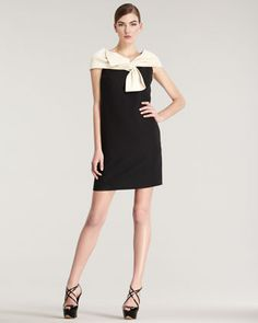 Contrast Bow Dress by Dior at Bergdorf Goodman.