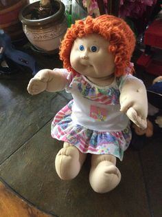 Cabbage Patch doll 1983 vintage red yarn pigtails blue by EMTWTT