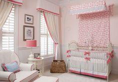 banded box pleated valance with curtains, darling nursery - liz caroll interiors