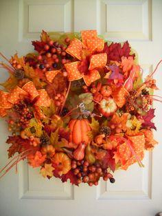 fall wreath deco mesh wreath autumn wreath by Celestialangelting, $85.00