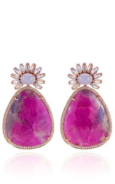 One-of-a-Kind Ruby, Moonstone, And Diamonds Earrings In White Gold by Dana Rebecca for Preorder on Moda Operandi