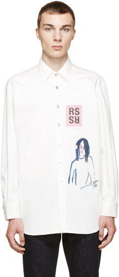 Raf Simons White Printed Patch Shirt