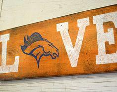 Denver Broncos Love Sign NFL Football Sign Distressed Wood Sign Mancave Sign Handmade Handpainted Rustic Wood Sign Orange $45