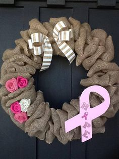 This is a great way to show your awareness for Breast Cancer Awareness for someone you love. This burlap wreath is attached to a wire wreath for