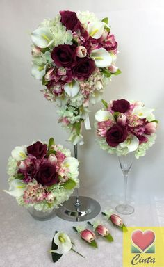 Mulberry Rose L Pink Cream Tulip Hydrangea Latex Calla Lily Wedding Bouquet SET | eBay