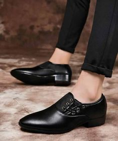 8c77c37137 Men s  black leather  DressShoes lace up from side design