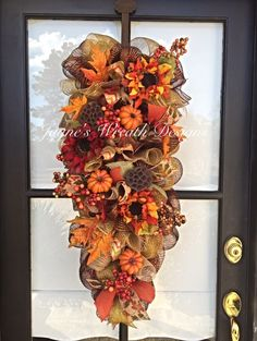 Fall Door Swag with Sunflowers and Pumpkins Jayne's Wreath Designs on fb and…