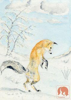 Jumping fox I Animal and Nature Art Print Nursery Animal