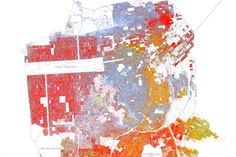 This map is based on the 2010 US census and covers every single person in the city of San Francisco. There's a similar map of the entire country here. The code is this: Blue dots are white, green dots are black, red dots are Asian, orange dots are Hispanic, and brown dots are all other races
