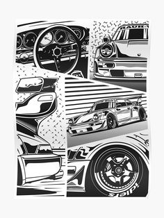 RWB Details Poster by OlegMarkaryan Marvel Drawings, Car Drawings, Auto Illustration, Drifting Cars, Vintage T-shirts, Car Logos, Cars And Coffee, Car Images, Automotive Art