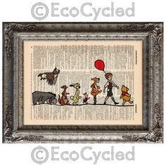Winnie the Pooh walks with friends in the Hundred Acre Wood. printed over a lovingly upcycled book art page - Winnie the Pooh and Friends on Vintage Upcycled Dictionary Art Print Book Art Print Disney