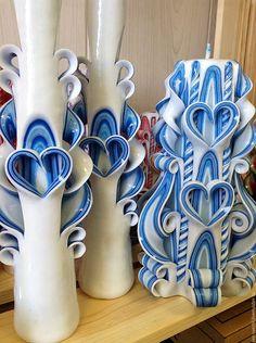 Купить Семейный очаг. Голубой. Резные Свечи ручной работы. Свадьба в СПб - резные свечи