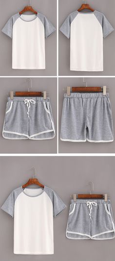 Contrast Raglan Sleeve Top With Drawstring Shorts