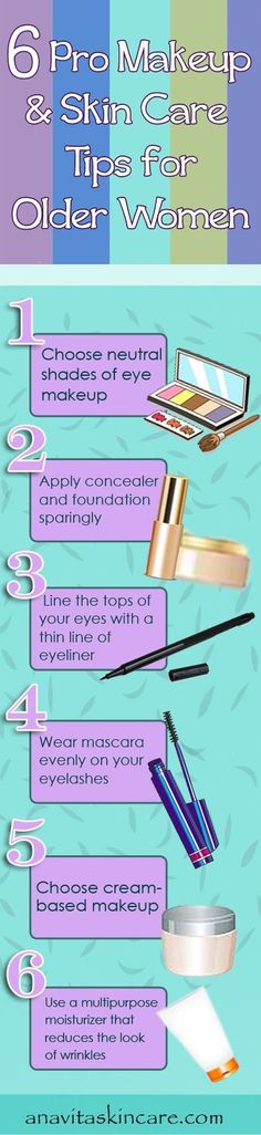 Professional makeup and skin care tips for aging skin. Best ways to use makeup, foundation, eyeliner, mascara, moisturizer, anti-aging cream, wrinkle cream.
